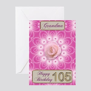 105th Birthday, for grandma with a rose Greeting C