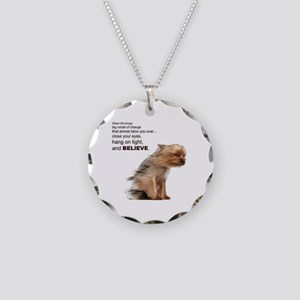 Yorkie Necklace Circle Charm
