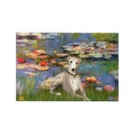 Lilies & Whippet Rectangle Magnet (10 pack)
