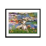 Lilies & Whippet Framed Panel Print