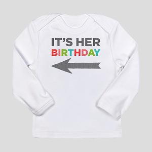 Her Birthday (left) Infant Long Sleeve T-Shirt