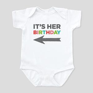 It's Her Birthday (left Arrow) Baby Body Suit