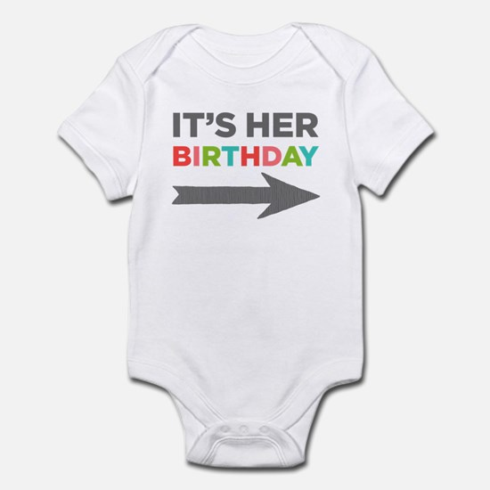 It's Her Birthday (right Arrow) Baby Body Suit