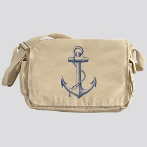 vintage navy blue anchor Messenger Bag