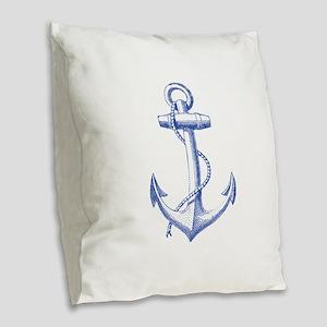 vintage navy blue anchor Burlap Throw Pillow