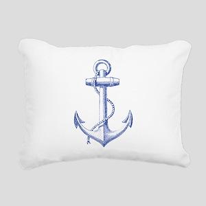 vintage navy blue anchor Rectangular Canvas Pillow