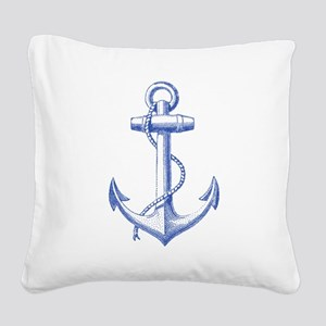 vintage navy blue anchor Square Canvas Pillow