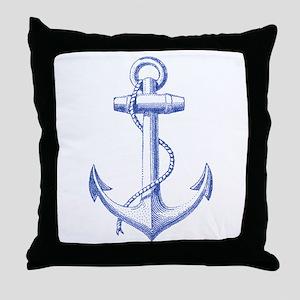 vintage navy blue anchor Throw Pillow
