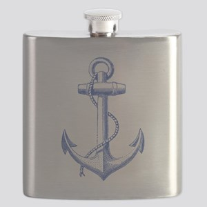 vintage navy blue anchor Flask