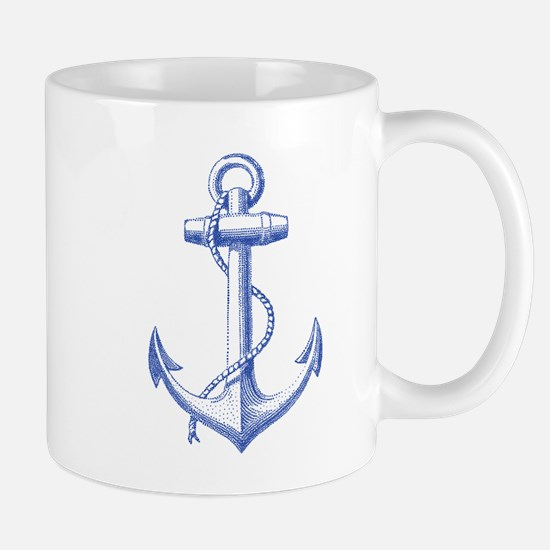 vintage navy blue anchor Mugs