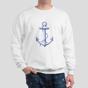 vintage navy blue anchor Sweatshirt