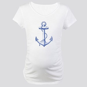 vintage navy blue anchor Maternity T-Shirt