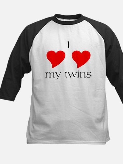 I Heart My Twins Kids Baseball Jersey