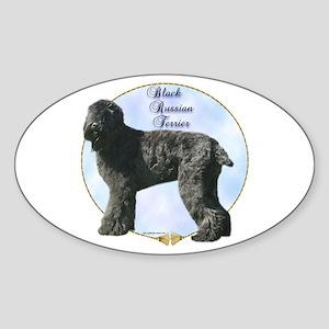Black Russian Portrait Oval Sticker