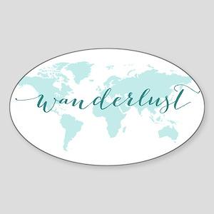 Wanderlust, teal world map Sticker