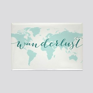 Wanderlust, teal world map Magnets