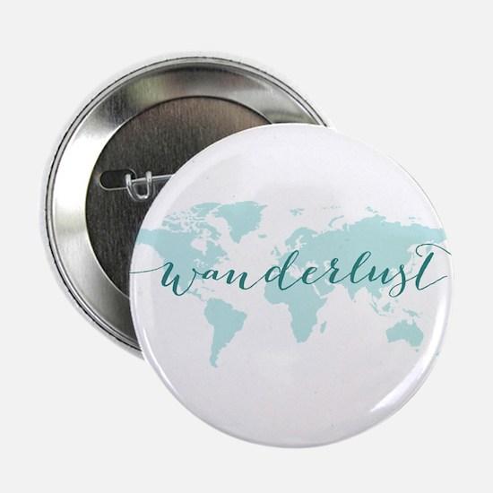 """Wanderlust, teal world map 2.25"""" Button"""