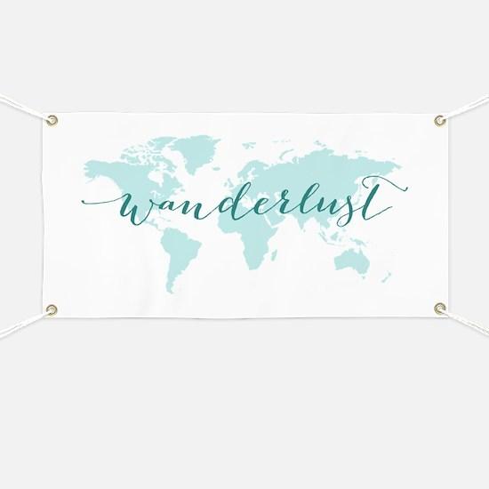 Wanderlust, teal world map Banner