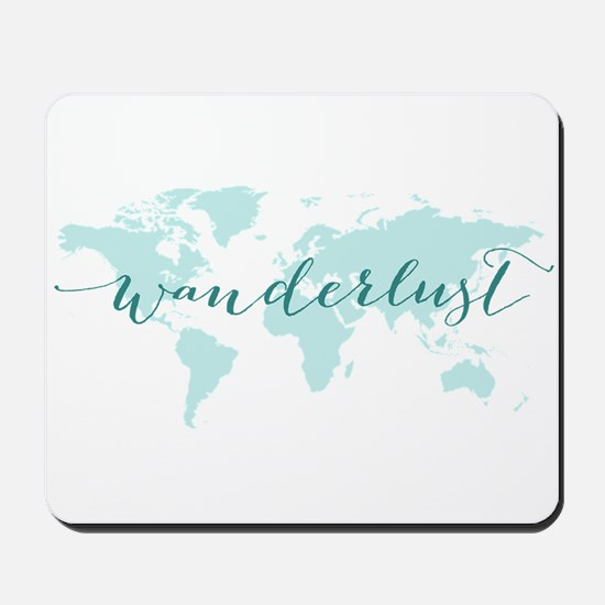 Wanderlust, teal world map Mousepad