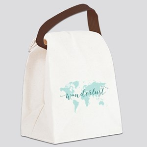 Wanderlust, teal world map Canvas Lunch Bag