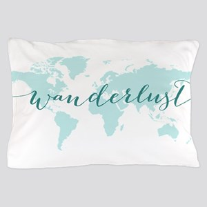 Wanderlust, teal world map Pillow Case