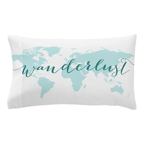 Wanderlust Teal World Map Pillow Case By Illustree