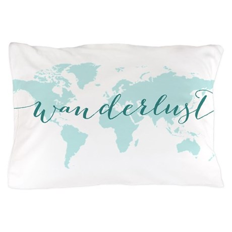 Wanderlust Teal World Map Pillow Case By Illustree