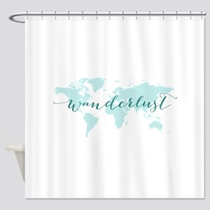 Wanderlust, teal world map Shower Curtain
