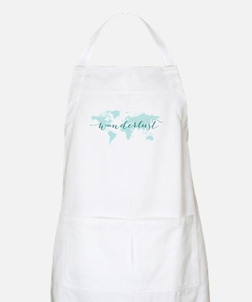 Wanderlust, teal world map Apron