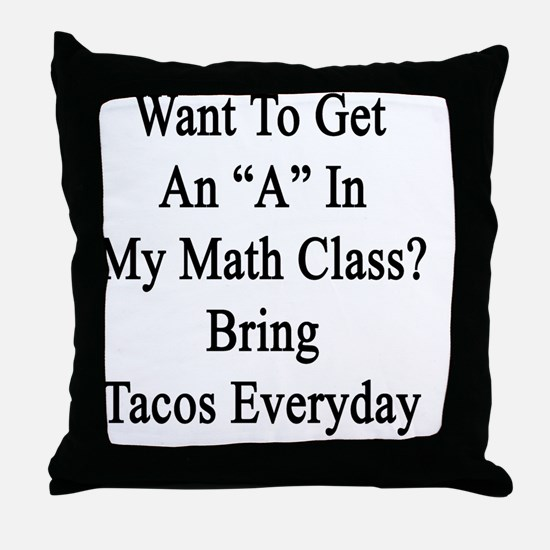 "Want To Get An ""A"" In My Math Class?  Throw Pillow"