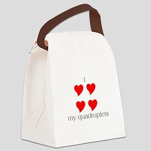 I Heart My Quadruplets Canvas Lunch Bag