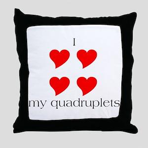 I Heart My Quadruplets Throw Pillow