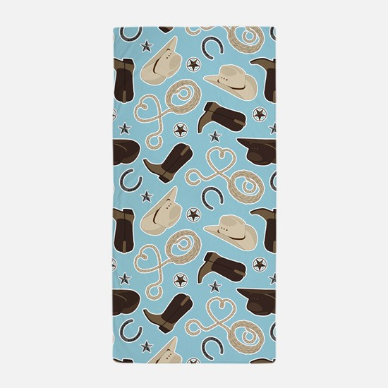 Cute Cowboy Theme Pattern Blue Beach Towel