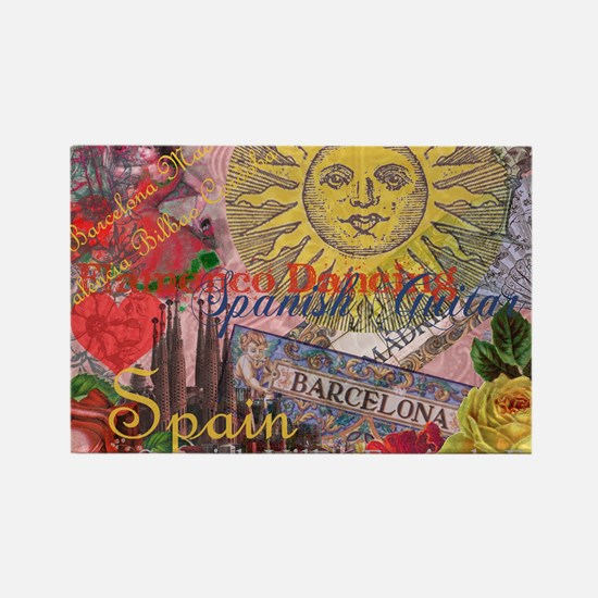 Spain Vintage Trendy Spain Travel Collage Magnets