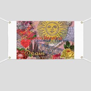 Spain Vintage Trendy Spain Travel Collage Banner