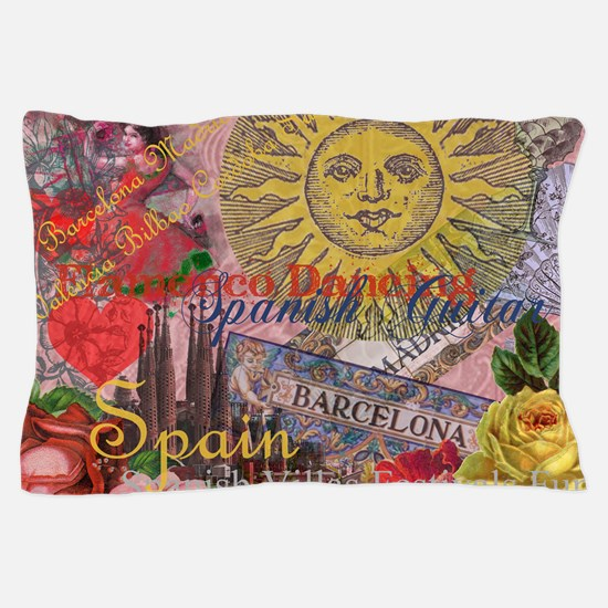 Spain Vintage Trendy Spain Travel Collage Pillow C