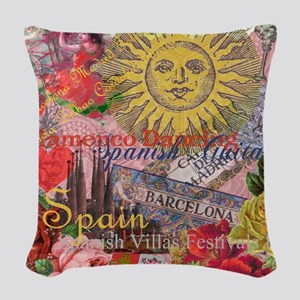 Spain Vintage Trendy Spain Travel Collage Woven Th