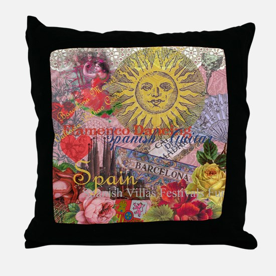 Spain Vintage Trendy Spain Travel Collage Throw Pi