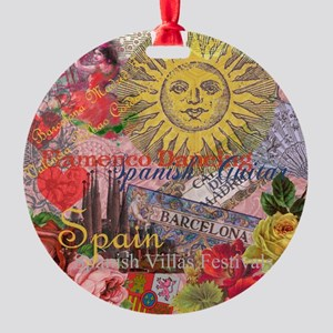Spain Vintage Trendy Spain Travel Collage Ornament