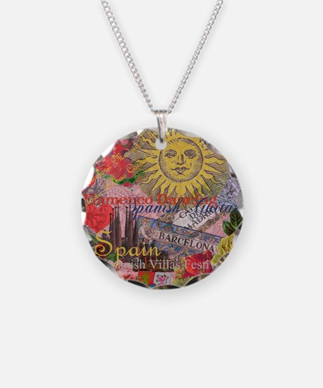 Spain Vintage Trendy Spain Travel Collage Necklace