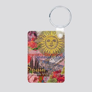Spain Vintage Trendy Spain Travel Collage Keychain
