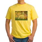 Whippet in Monet's Garden Yellow T-Shirt
