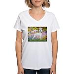 Whippet in Monet's Garden Women's V-Neck T-Shirt