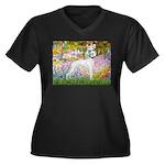 Whippet in Monet's Garden Women's Plus Size V-Neck