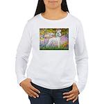 Whippet in Monet's Garden Women's Long Sleeve T-Sh