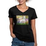 Whippet in Monet's Garden Women's V-Neck Dark T-Sh