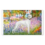 Whippet in Monet's Garden Sticker (Rectangle)