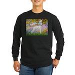 Whippet in Monet's Garden Long Sleeve Dark T-Shirt