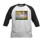Whippet in Monet's Garden Kids Baseball Jersey