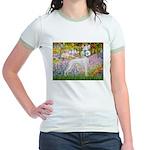 Whippet in Monet's Garden Jr. Ringer T-Shirt